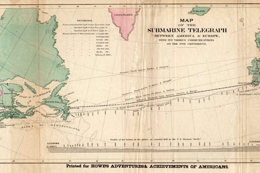 Transatlantic cable map